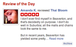Cropped screenshot of Yelp homepage for Portland featuring a 5 star review of Thai Bloom!  by Amanda K