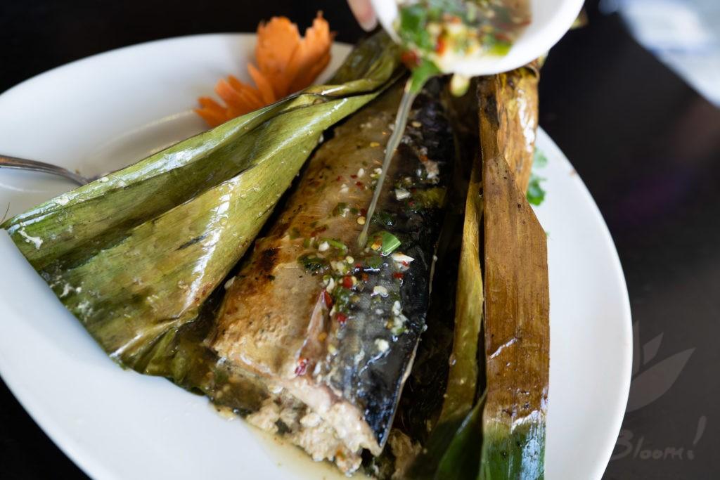 grilled mackerel in banana leaf thai bloom. Black Bedroom Furniture Sets. Home Design Ideas